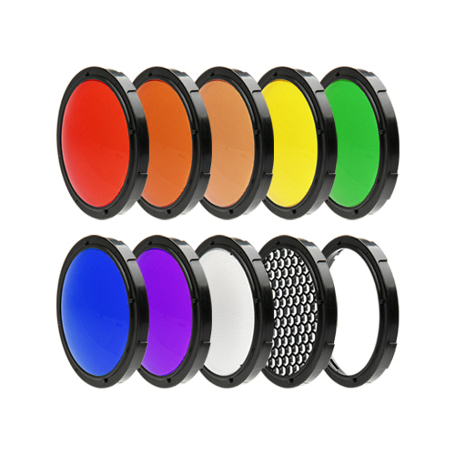 LightFilter KIT [Speedbox-Flip] Colorfilter-7 colors, Diffuser, Honeycomb Grid, Gel FrameSMDV
